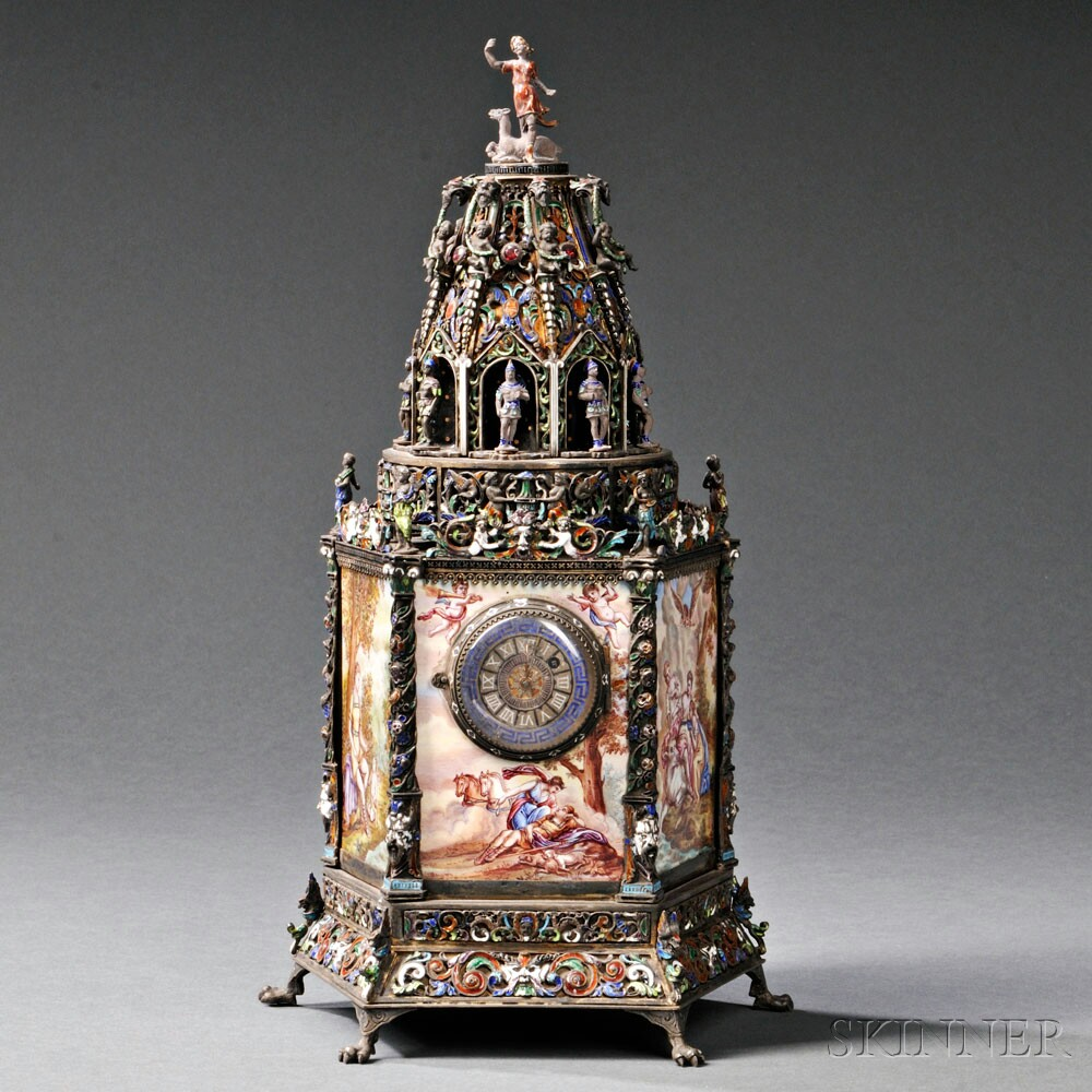 Viennese Silver and Enamel Tower-form Timepiece, Austria, c. 1880, attributed to Hermann Bohm (Lot 159, Estimate $7,000-$9,000)