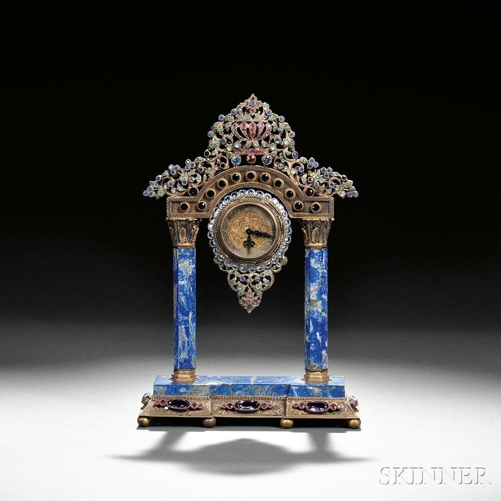 Continental Silver, Gilt-metal, Lapis Lazuli, and Jewel-encrusted Mantel Clock, late 19th century (Lot 161, Estimate $3,000-$5,000)