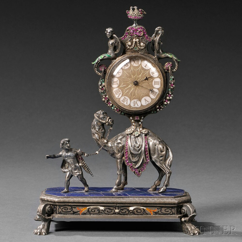 Viennese Silver, Enamel, and Jeweled Camel-form Clock