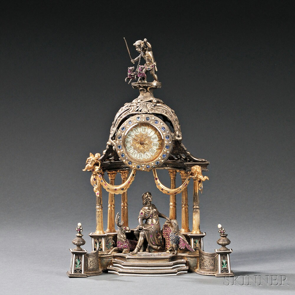 Viennese Silver, Gilt-metal, Enameled, and Jeweled Architectural Clock, Austria, late 19th century (Lot 195, Estimate $8,000-$12,000)
