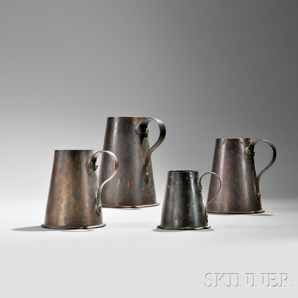 Set of Four Graduated Copper Measures, America, 18th century (Lot 72, Estimate $3,000-$5,000)