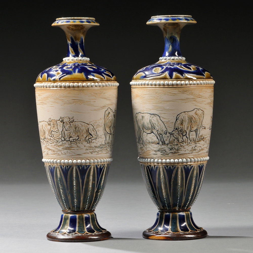 Pair of Doulton Lambeth Hannah Barlow Decorated Stoneware Vases, England, 1879 (Lot 547, Estimate $800-$1,200)