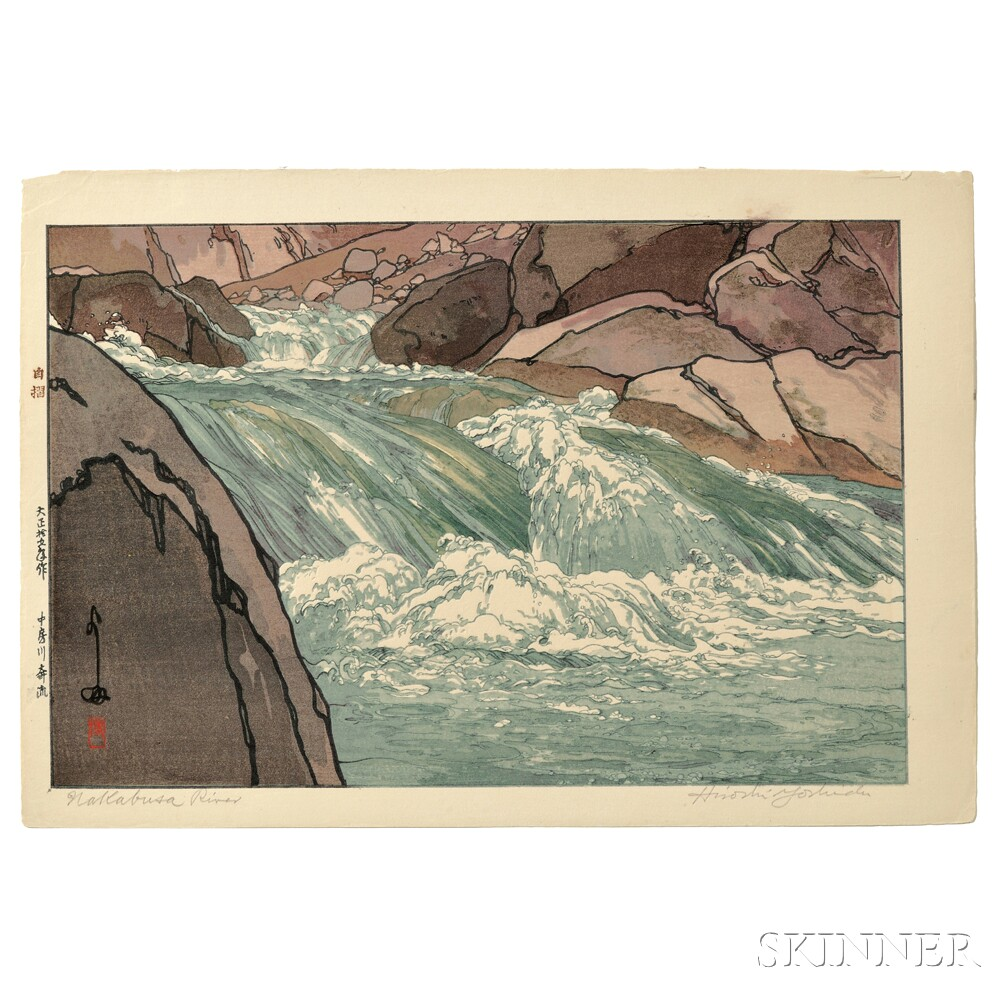 Hiroshi Yoshida (1876-1950), Rapids of the Nakabusa River, Japan, 1926 (Lot 102, Estimate $4,000-$6,000)