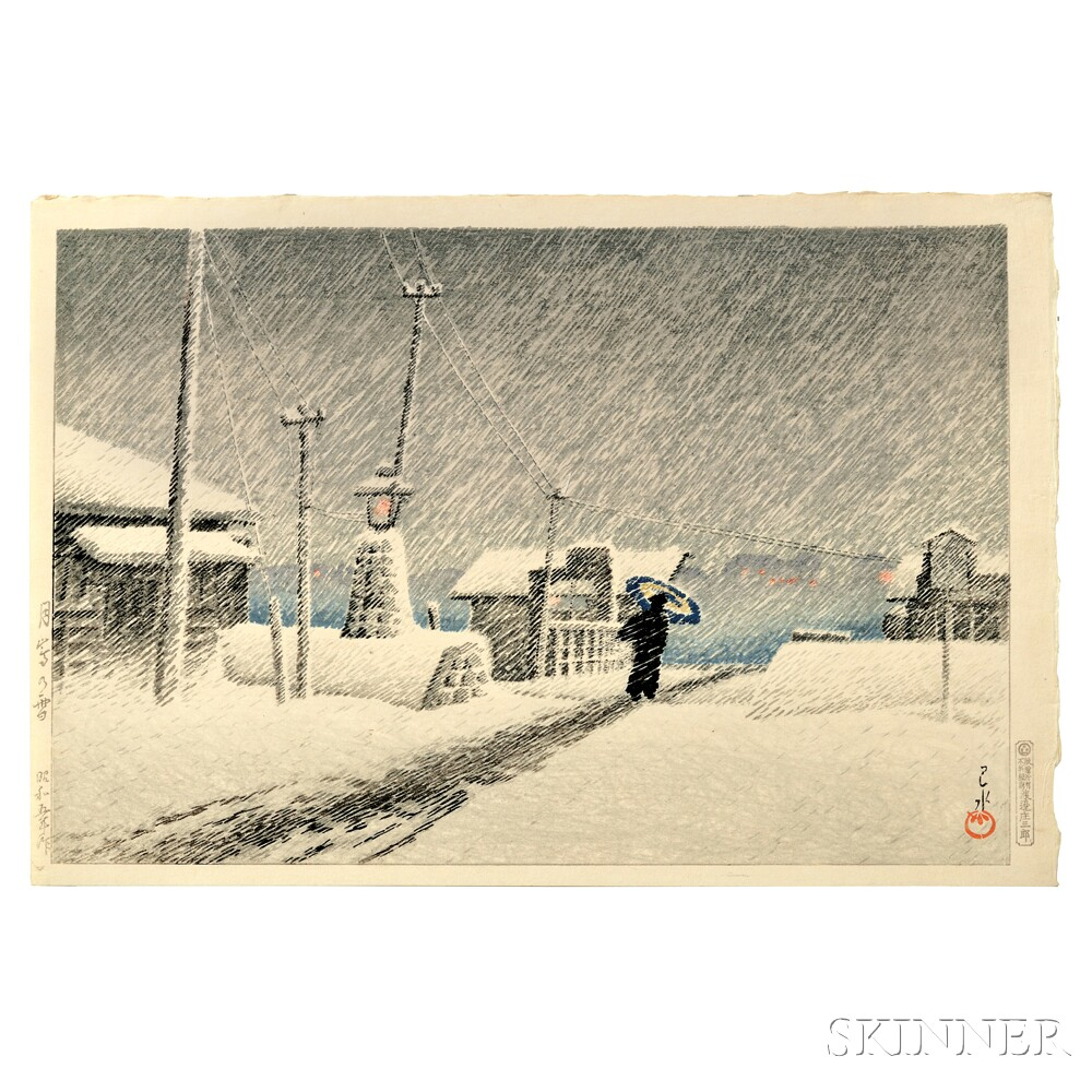 Kawase Hasui (1883-1957), Snow at Tsukishima, Japan, 1930 (Lot 45, Estimate $8,000-$10,000)