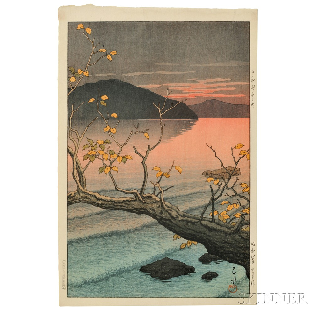 Kawase Hasui (1883-1957), Nenokuchi Lake, Towada, Japan, 1933 (Lot 63, Estimate $3,000-$5,000)