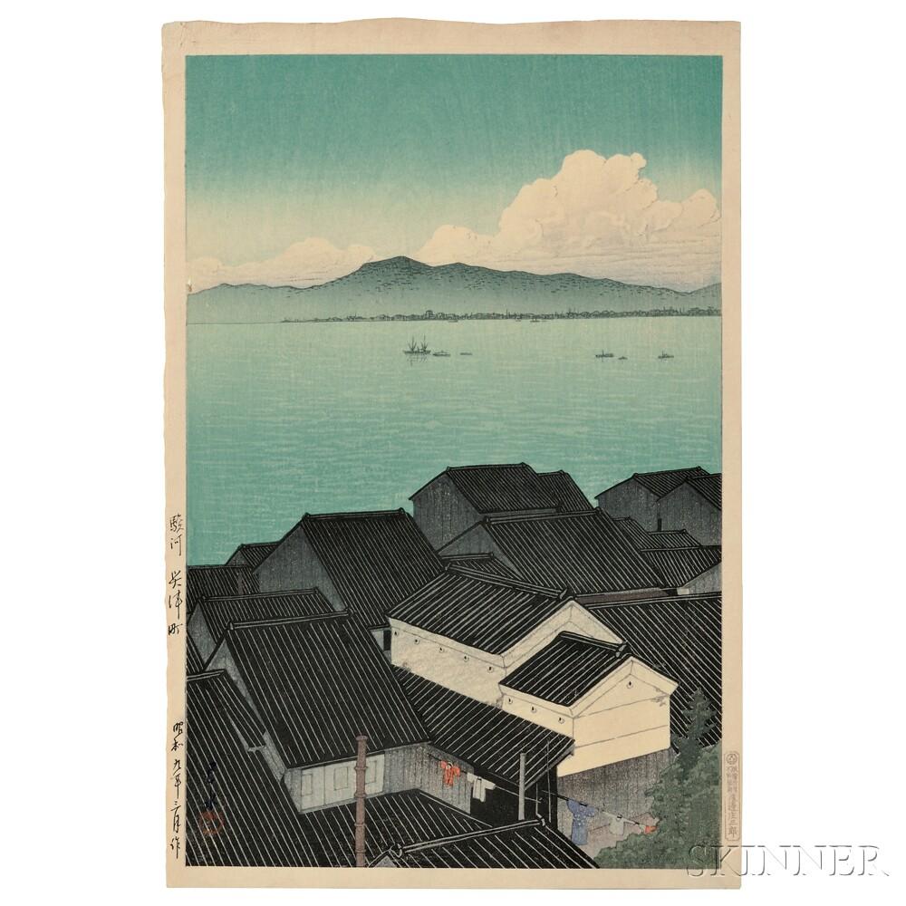 Kawase Hasui (1883-1957), Okitsu Town, Suraga, Japan, 1934 (Lot 70, Estimate $3,000-$5,000)