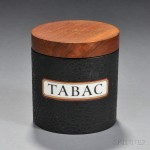 Alfred Dunhill Mahogany, Porcelain, and Leatherette Tobacco Jar (Estimate $325-$375)