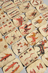 Thirty-nine Apache Painted Rawhide Playing Cards (Lot 268, Estimate $8,000-$12,000)