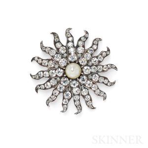 Pearl and Diamond Starburst Pendant/Brooch, Tiffany & Co. (Lot 378, Estimate $18,000-$22,000)