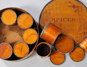 Stenciled Round Spice Box, Patent Package Co., Newark, New Jersey, 19th century (Lot 482, Estimate $150-$250)