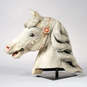Carved and Painted Wood Carousel Horse Head, (Lot 173, $600-$800)