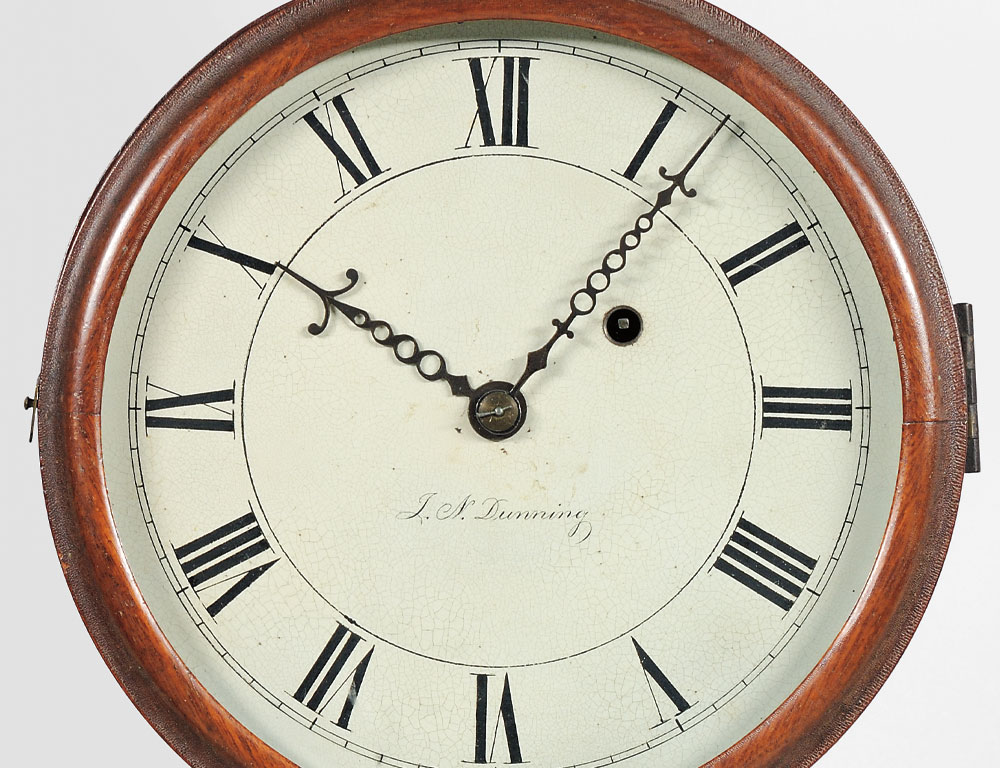 Joseph Nye Dunning Wall Clock, Burlington, Vermont, c. 1820 (Lot 50, $15,000-$25,000)