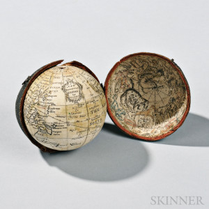 Nathaniel Hill 2 1/2-inch Pocket Globe, c. 1754 (Lot 223, Estimate $5,000-$7,000)