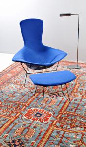 Harry Bertoia 'Bird' chair, Knoll ottoman, and Koch & Lowry chrome swing lamp on 1880 Karaja carpet (Lot 163, Estimate $8,000-$10,000).