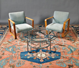 Bentwood lounge chairs and glass coffee table on 1880 Serapi (Lot 161, Estimate $18,000 - $20,000)