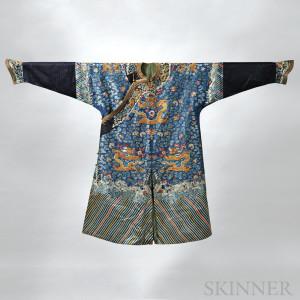 Man's Formal Blue Silk Dragon Robe, China, 19th/20th century (Lot 445, Estimate $3,000-$5,000)