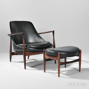 Ib Kofod Larson 'Elizabeth' Chair and Ottoman (Lot 504, Estimate $6,000-$8,000)
