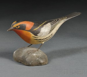 Jess Blackstone Miniature Carved and Painted Blackburnian Warbler Figure, Sold for: $1,593