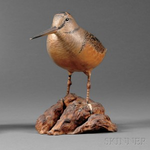 Crowell Carved and Painted Woodcock Ornamental Mantel Figure, A. Elmer Crowell (1862-1952), Sold for: $18,960