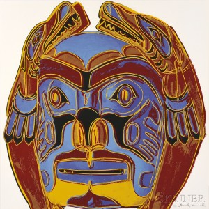 Andy Warhol (American, 1928-1987) Northwest Coast Mask, from COWBOYS AND INDIANS, 1986, edition of 250 plus proofs (Lot 53, Estimate $10,000-$15,000)