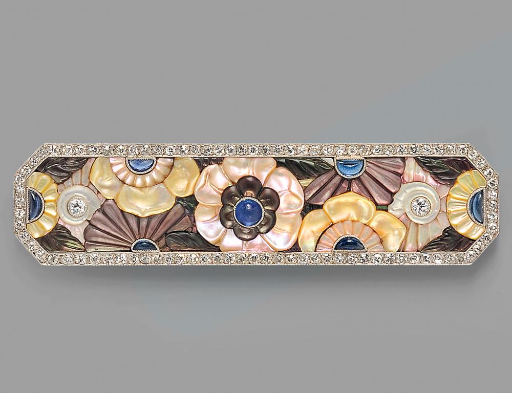 Fine Art Deco Platinum, Diamond, and Gem-set Plaque Brooch, Boucheron, Paris, c. 1925 (Lot 294, Estimate $15,000-$20,000)