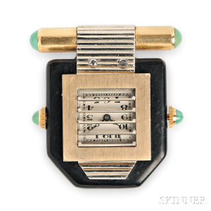 Art Deco Clip Watch, Van Cleef & Arpels, France, c. 1930 (Lot 308, Estimate $4,000-$6,000)