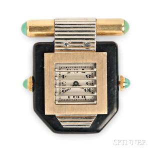 Art Deco Clip Watch, Van Cleef & Arpels, France, c. 1930 (Lot 308, Estimate $4,000-$6,000)