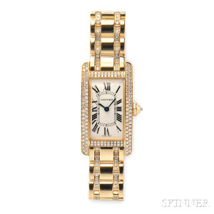 "Lady's 18kt Gold and Diamond ""Tank Americaine"" Wristwatch, Cartier (Lot 340, Estimate $15,000-$20,000)"