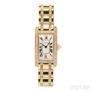 "Lady's 18kt Gold and Diamond ""Tank Americaine"" Wristwatch, Cartier (Lot 340, Estimate $15,000-$20,000)"