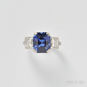 Fine Platinum, Sapphire, and Diamond Ring, Tiffany & Co.(Lot 469, Estimate $100,000-$150,000)