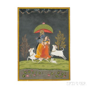 Miniature Painting Depicting Radha and Krishna, India, 18th/19th century (Lot 10, Estimate $2,000-$3,000)