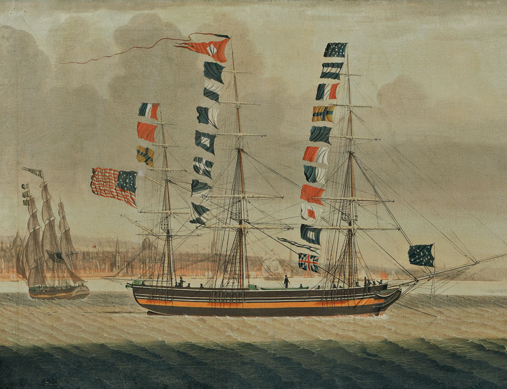 [Detail] American School, Early 19th Century  Portrait of the Packet Ship Emerald off Liverpool (Lot 182, Estimate $20,000-$30,000)