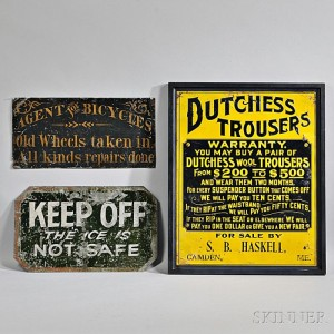 Three Tin Signs, America, late 19th/early 20th century (Lot 1136, Estimate $200-$300)