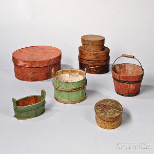 Pails were used to carry liquids from one place to another. Five Oval Pantry Boxes and Three Small Wooden Pails (Lot 1088, Estimate $300-$500)