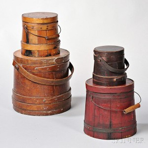 Objects commonly referred to today as firkins are actually lidded pails or buckets.  Historically, a firkin is a specific unit of measure. Four Firkins (Lot 1172, Estimate $200-$300)