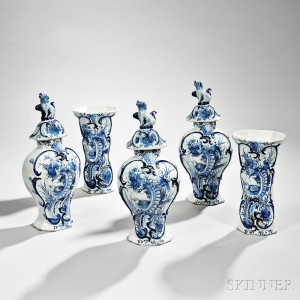 Dutch Delftware Blue and White Five-piece Garniture (Lot 897, Estimate $800-$1,200)