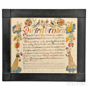 Birth Certificate Fraktur by Daniel Peterman (1797-1871), York County, Pennsylvania, c. 1826 (Lot 1036, Estimate $5,000-$7,000)