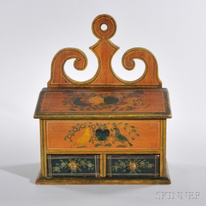 Carved and Painted Pine Hanging Spice Box, Samuel L. Plank (Mifflin County, 1821-1900), Pennsylvania, last quarter 19th century (Lot 1107, Estimate $12,000-$18,000)