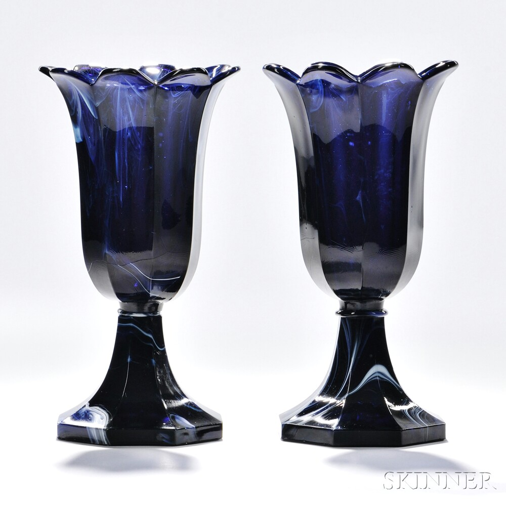 Pair of Marbelized Blue Pressed Glass Tulip Vases, Boston & Sandwich Glass Company, Sandwich, Massachusetts, c. 1845-65 (Lot 30, Estimate $2,000-$4,000)