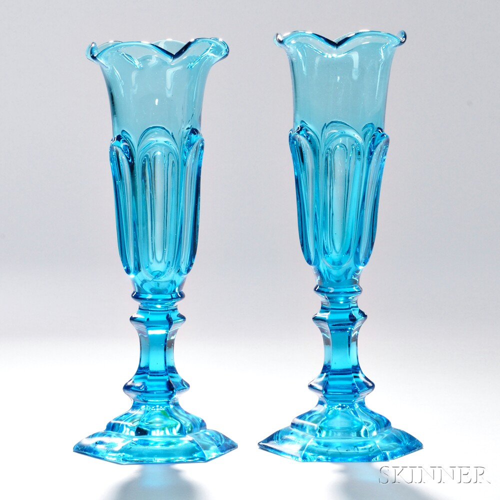 Pair of Light Blue Pressed Glass Loop Pattern Vases, New England Glass Company, Cambridge, Massachusetts, c. 1840-60 (Lot 7, Estimate $800-$1,200)