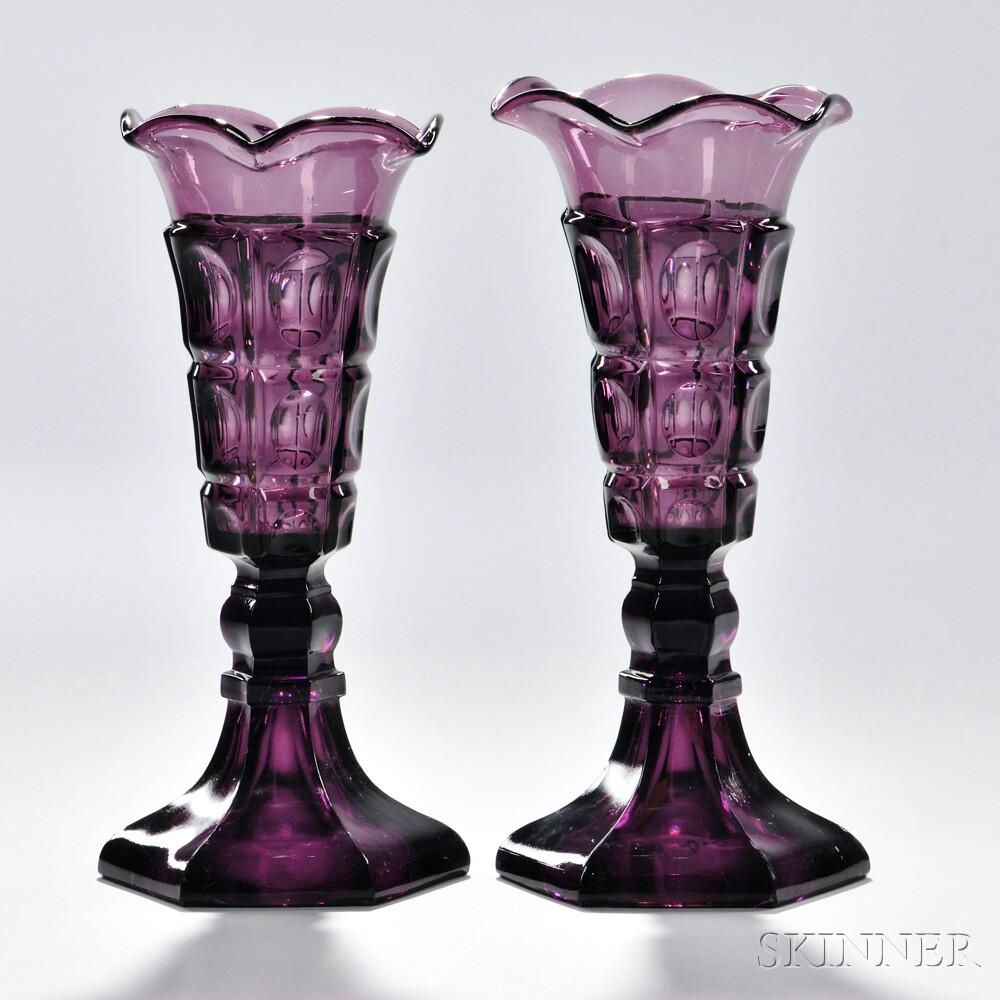 Pair of Light Amethyst Pressed Glass Three-printie Block Pattern Vases, Boston & Sandwich Glass Company, Sandwich, Massachusetts, c. 1840-60 (Lot 94, Estimate $1,000-$1,500)