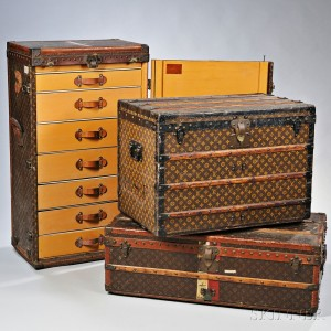 Group of Louis Vuitton Monogram Steamer and Garment Trunks (Lots 487, 489, 843)