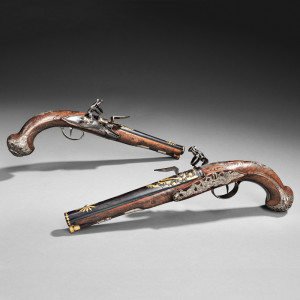 Pair of Silver-mounted Wilson Flintlock Pistols, c. last quarter 18th century (Lot 33, Estimate $8,000-$10,000)