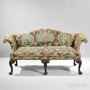 Late George III Needlepoint Settee, England, 19th century, with later components, (Lot 526, Estimate $800-1,200)