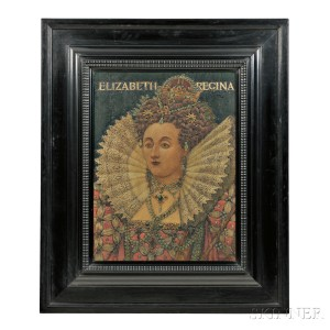 J. William Fosdick Pyrography of Queen Elizabeth Incised on reverse:1903 (Lot 693, Estimate $1,500-2,500)