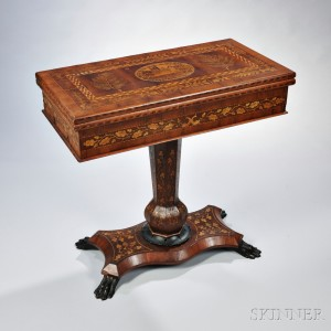 Victorian_gaming_table_closed. Victorian Irish Marquetry Inlaid Games Table  ...