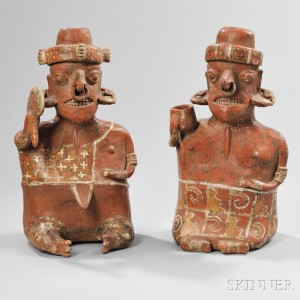 Large Nayarit Seated Male and Female Pair, Ixtlan del Rio Style, c. 100 BC-AD 250 (Lot 65, Estimate $3,000-$4,000)
