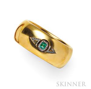 Antique 18kt Gold, Emerald and Diamond Bracelet (Lot 456, Estimate $5,000- $7,000)