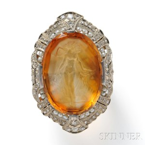 Art Deco Citrine Cameo Cuvette Ring (Lot 345, Estimate $800- $1,200)
