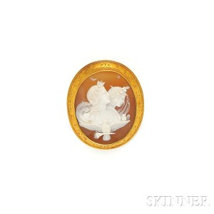 """Antique 18kt Gold and Shell """"Day and Night"""" Cameo Brooch  (Lot 109, Estimate $500-$700)"""